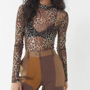 UO Marla Mesh Mock Neck Leopard Top
